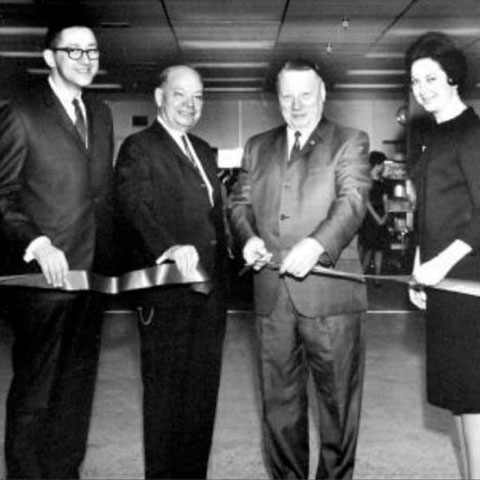 From left, Maurice Helperin, Harry Shapiro, Mayor CH (Dutch) Meier and Sylvia Helperin cut the ribbon at Hudson's grand re-opening in 1966